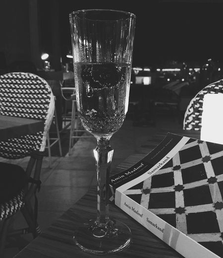 Champagne Cherry Read Alcohol Book Book Cover Chair Close-up Day Drink Drinking Alone Drinking Glass Food And Drink Freshness Indoors  No People Plate Prosecco Refreshment Restaurant Samarkand Still Life Table Wine Wineglass