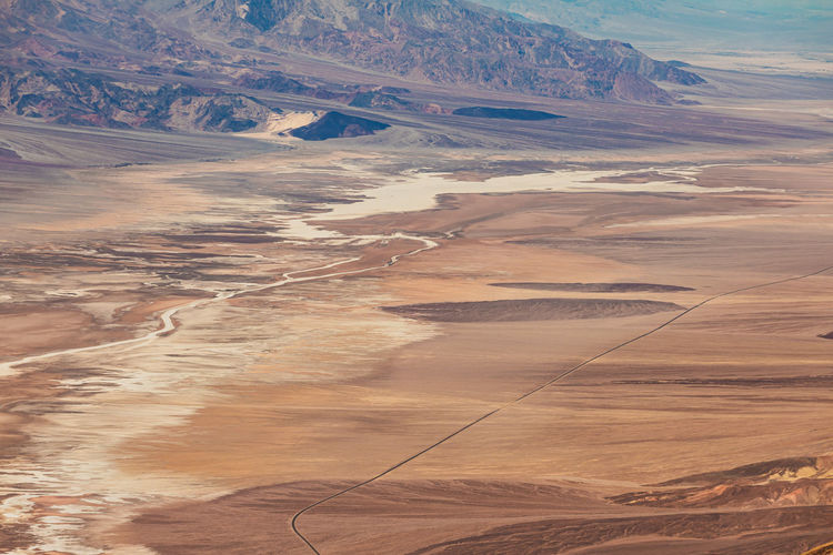 High angle view of arid land against sky at death valley national park