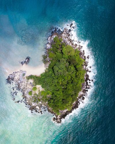 Small island 🌴 Water Nature Sea No People Tree Plant Green Color Outdoors UnderSea Shape Beauty In Nature High Angle View Blue Scenics - Nature Sky Space Environment Island