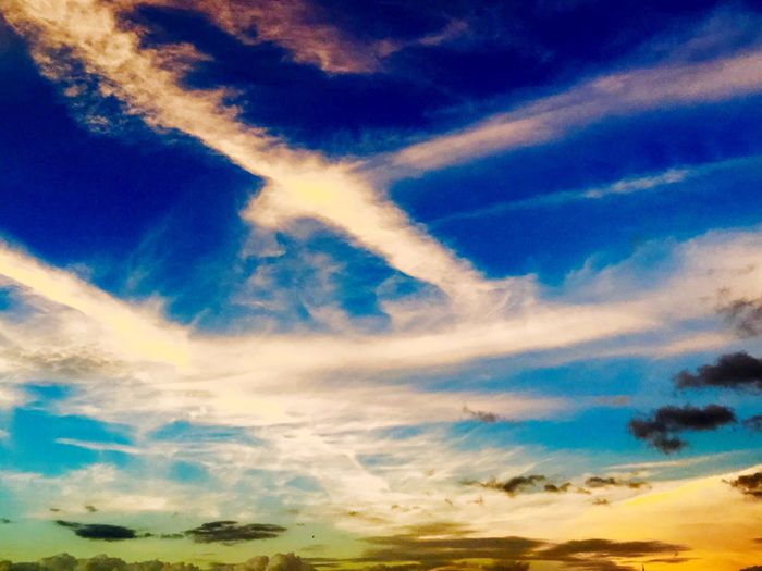 ☹ Sky Beauty In Nature Nature Cloud - Sky Scenics Low Angle View Tranquility Tranquil Scene Backgrounds Blue No People Sky Only Outdoors Full Frame Day Sunset Vapor Trail