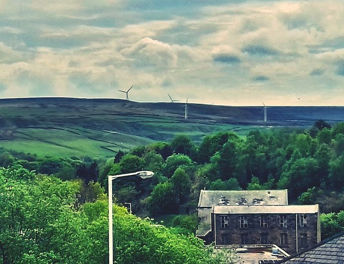 Landscape Outdoors Beauty In Nature Field Rural Scene No People Hill Windfarm View Multilayerd Landscape Historic Town Buildings Unused Building Cloudy Sky-nice View Bacup Centre