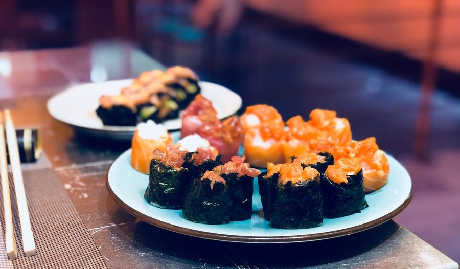 Sushi 🍣 Healthy Healthy Lifestyle EyeEm Selects Food And Drink Food Freshness Plate Ready-to-eat Asian Food Sushi Seafood Focus On Foreground Japanese Food Healthy Eating Serving Size Still Life Table Indulgence Indoors  Rice Close-up Wellbeing No People EyeEmNewHere