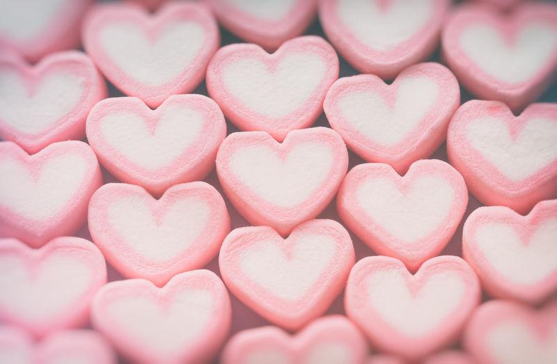 Full frame shot of heart shape marshmallow