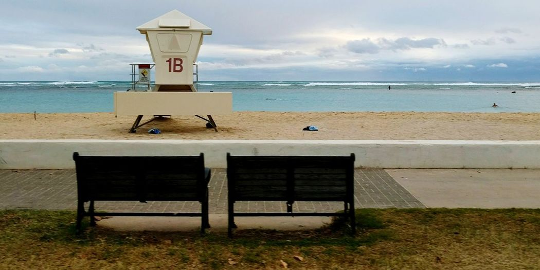 two benches and a lifeguard stand at ala moana beach Taking Photos Showcase March Hello World Eyeemphotography Popular Photos EyeEm Best Shots Check This Out Beach Honolulu  Enjoying Life My Photography AndroidPhotography EyeEm Nature Lover Respect For The Good Taste EyeEm Gallery No People Alamoana Eye4photography  Visiting My Home Town Hello World What I See Moment Of Zen Landscapes With WhiteWall