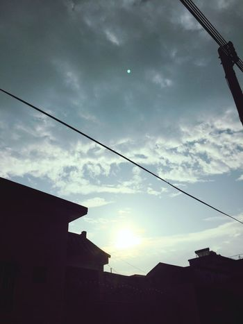 Low Angle View Sky Building Exterior Built Structure Cloud - Sky Architecture No People Tree Cable Silhouette Outdoors Nature Day 景