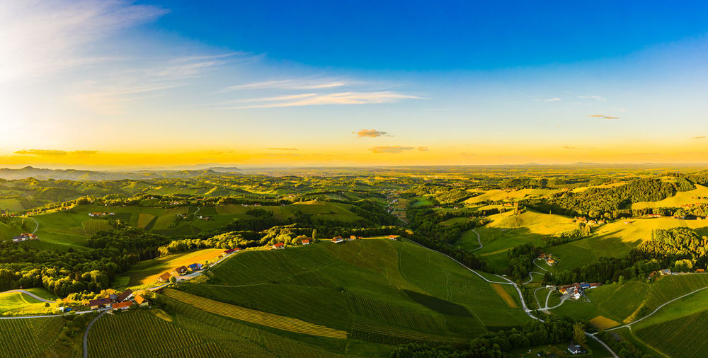 Gorgeous sunset over beautiful green vineyards. aerial panorama sunset over austrian styria
