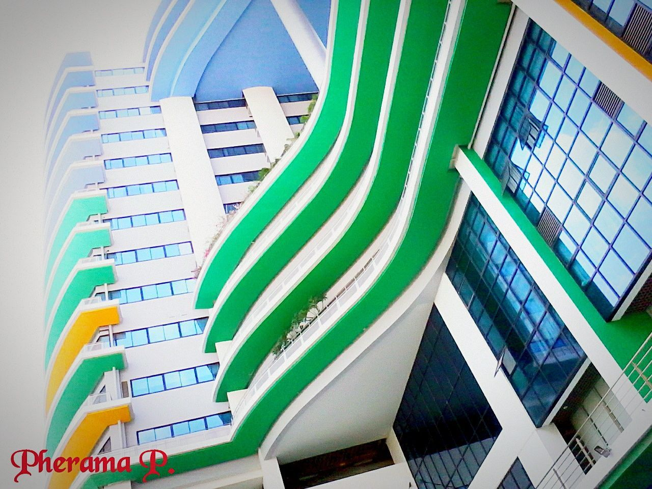 multi colored, architecture, indoors, no people, built structure, low angle view, day, close-up