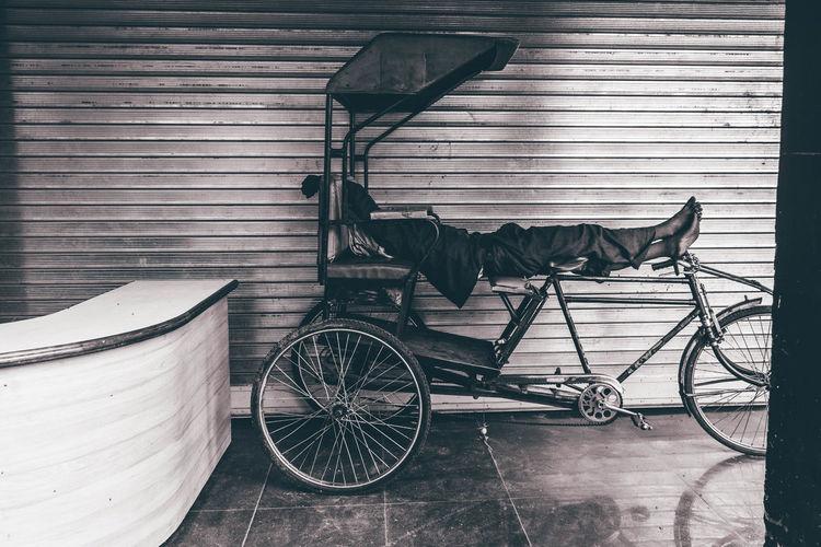 Man sleeping in cart