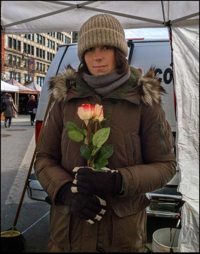 Thinking of Valentine's Day - 2/13/16 Beautiful Roses♥♡ Cold Day, Warm Smile Lady Vendor Selling Roses Looking At Camera Open Air Farmers Mkt. Standing StreetPhotography NYC Young Adult