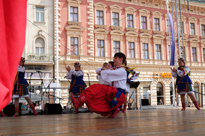 Members of folk group Sopilka from Vegreville, Alberta, Canada, during the 50th International Folklore Festival in center of Zagreb, Croatia on July 20, 2016 Alberta Canada Celebration Costume Costume Croatia Culture Dance Entertainment Event Festival Folk Folklore Girl Historical Music Participant Perform Show Sopilka Tradition Vegreville Woman Zagreb