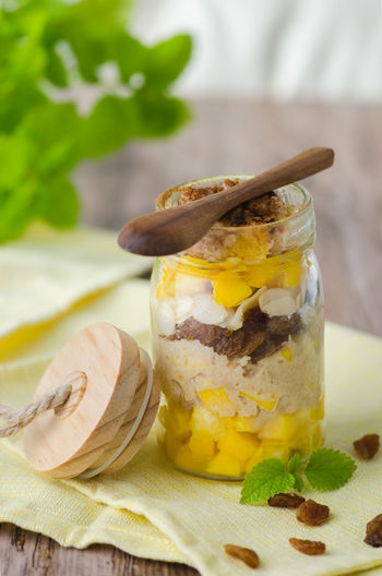 Close-up of food in jar