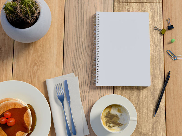 Top view on table with coffee, cake and notebook. Table Food And Drink Directly Above Drink Still Life Cup Refreshment Food Mug High Angle View Fork Coffee Coffee Cup Indoors  Freshness Coffee - Drink Kitchen Utensil Eating Utensil No People Plate Table Knife Breakfast Crockery Notebook