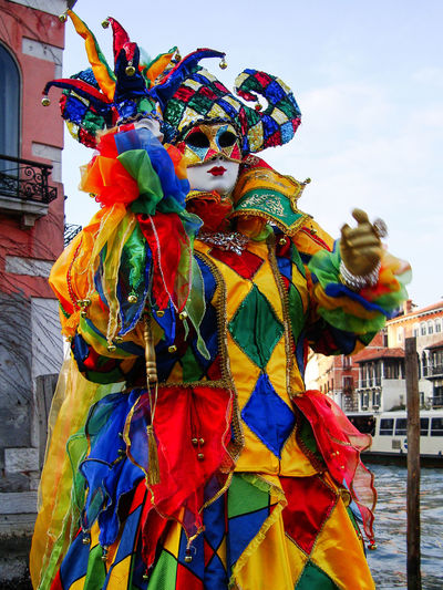 Carnival in Venice, Italy Multi Colored Architecture Disguise Building Exterior Mask Costume Mask - Disguise Outdoors Arts Culture And Entertainment Carnival - Celebration Event Venice, Italy Carnival In Venice Venetian Mask Day Celebration Creativity Festival Pose