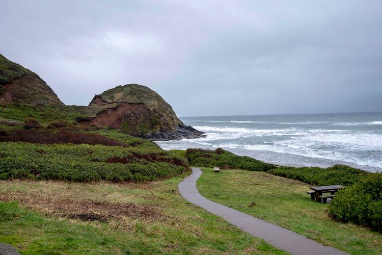 Landscape of path between greenery to the beach with large rock formation along the Oregon coast Pathway Oregon Coast Green Color Travel Destinations Landscape Hill Oregon Sea Water Sky Scenics - Nature Beach Beauty In Nature Land Horizon Tranquility Nature Horizon Over Water Tranquil Scene Day Green Color No People Grass Non-urban Scene Outdoors Plant Cloud - Sky