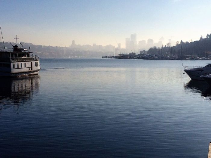 Tranquil Seattle Boat Clear Sky Nature Nautical Vessel Outdoors Transportation Urban Skyline Water Waterfront Yacht