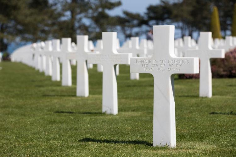 White cemetery on field
