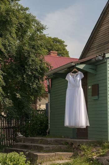 Architecture Built Structure Day Details Drees Grass House Nature No People Outdoors Pink Color Sky Summer Tree Wedding Dress