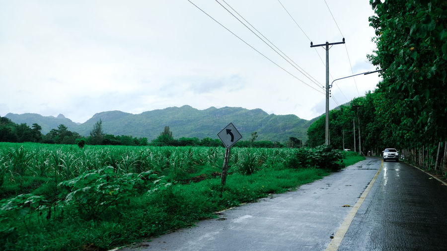 Road by plants and mountains against sky