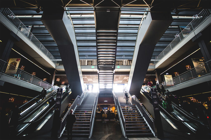 Modern Train Station Architectural Column Architectural Feature Architecture Built Structure City City Life Diminishing Perspective Illuminated Low Angle View Modern The Way Forward Travel Destinations Vanishing Point