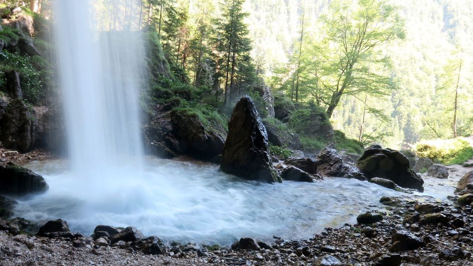 Beauty In Nature Blurred Motion Day Flowing Water Forest Growth Idyllic Landscape Long Exposure Motion Nature No People Outdoors Power In Nature Rock - Object Scenics Sky Slovenia Tranquil Scene Tranquility Tree Water Waterfall Been There. Perspectives On Nature