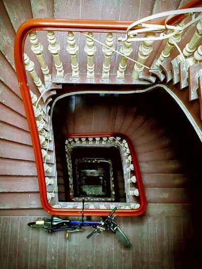 High Angle View Of Bicycle Parked At Steps