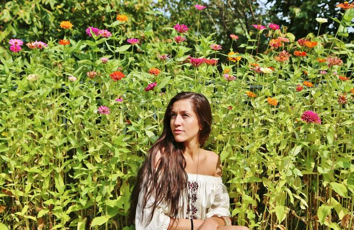 In The Weeds Pocahontas  Beautiful Woman Brown Hair Brunette Girl  Day Flower Freshness Immersed Long Hair Nature Outdoors Summer Surrounded By Nature Tan Skin Wild Flowers