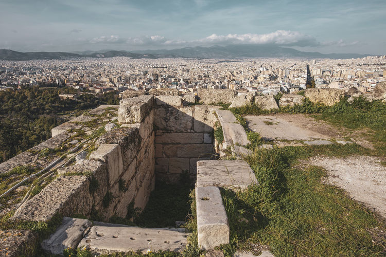 Acropolis Athens Greece Acropolis Architecture Built Structure Nature Sky History The Past Cloud - Sky Building Exterior Day No People Ancient High Angle View Old Ruin City Travel Destinations Environment Landscape Ancient Civilization Outdoors Old Cityscape Archaeology Ruined