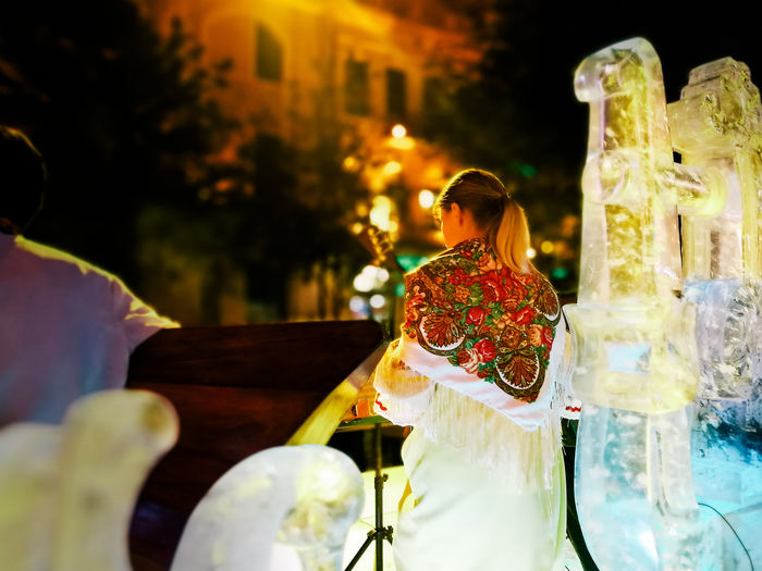 Focus On Foreground Harbin Music Musician Night Outdoors Selective Focus