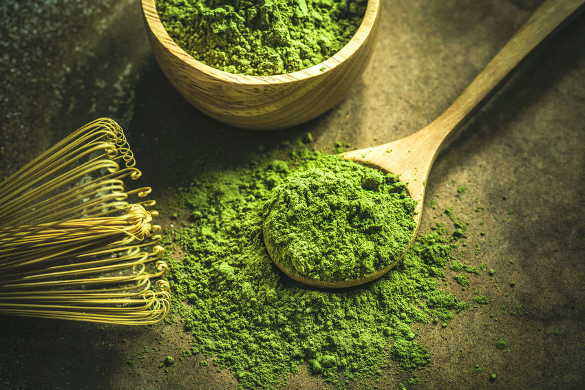 Matcha green tea Tea Bowl Close-up Container Eating Utensil Food Food And Drink Freshness Green Color Healthy Eating Herb High Angle View Indoors  Kitchen Utensil Matcha Green Tea Nature No People Plant Raw Food Spoon Still Life Table Wellbeing