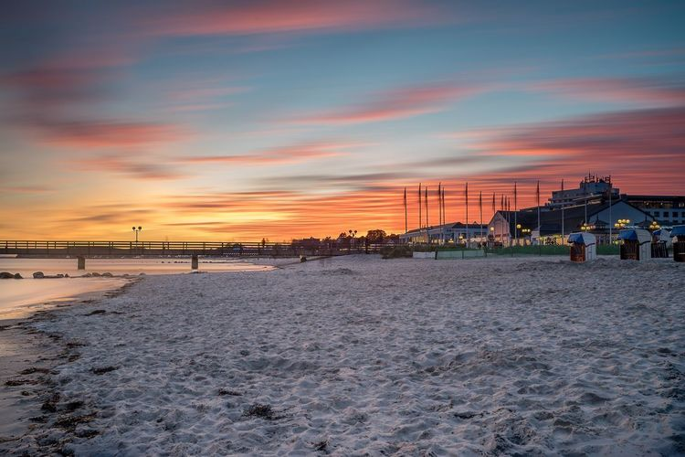 The Sunset Colorfull Sunset EyeEm Best Shots First Eyeem Photo Grömitz Seebrücke Strand Sunset Sky Cloud - Sky Architecture Built Structure Land Nature Water Sea Beauty In Nature Building Exterior Orange Color Outdoors No People Scenics - Nature Sand