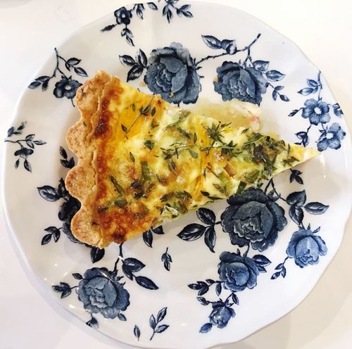 Salmon quiche Plate Food Ready-to-eat Food And Drink Freshness No People Serving Size High Angle View Indulgence Indoors  Directly Above Close-up Food Styling Day Salmon Quiche