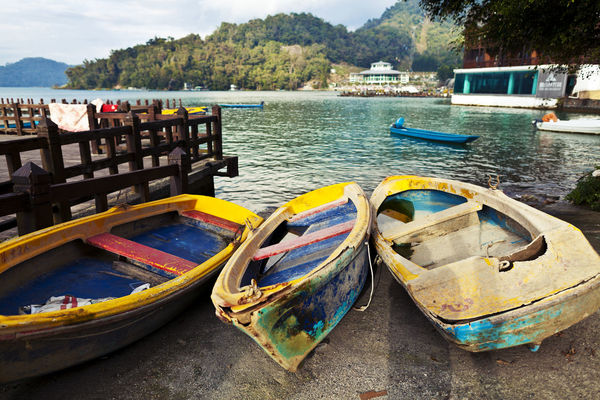 Beach Boats Day Lake Moored Multi Colored Nautical Vessel No People Outdoors Pedal Boat Reflection Shore Sky Taiwan Travel Travel Destinations Water
