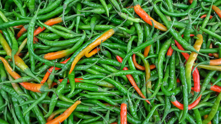 Directly above shot of chili peppers for sale in market