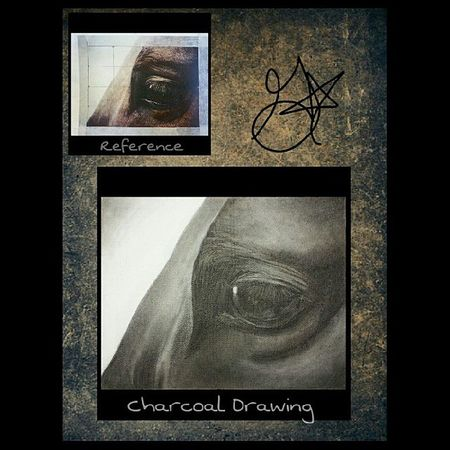 Something I'm working on in art class. :) Btw it's a horse's eye :) Charcoal Drawing Draw Horseeye horse eye canvas art artist