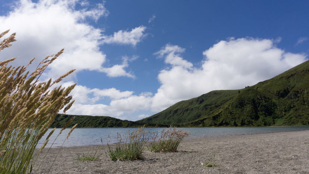 Lagoa do Fogo, Azores, Portugal. Lagoa Do Fogo Portugal Sao Miguel- Azores Azores, S. Miguel Beauty In Nature Cloud - Sky Day Grass Landscape Mountain Nature No People Outdoors Scenics Sky Tranquil Scene Tranquility Water