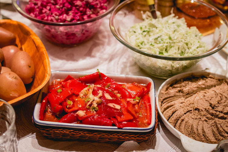 Celebration Homemade Food Red Salad Bell Pepper Bowl Food Food And Drink Healthy Eating Indoors  No People Ready-to-eat Variation Variety Vegetable