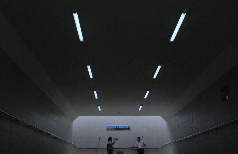 Architecture Built Structure Ceiling Day Illuminated Indoors  Lifestyles Lighting Equipment Men Neon People Real People Subway Station Tunnel Women