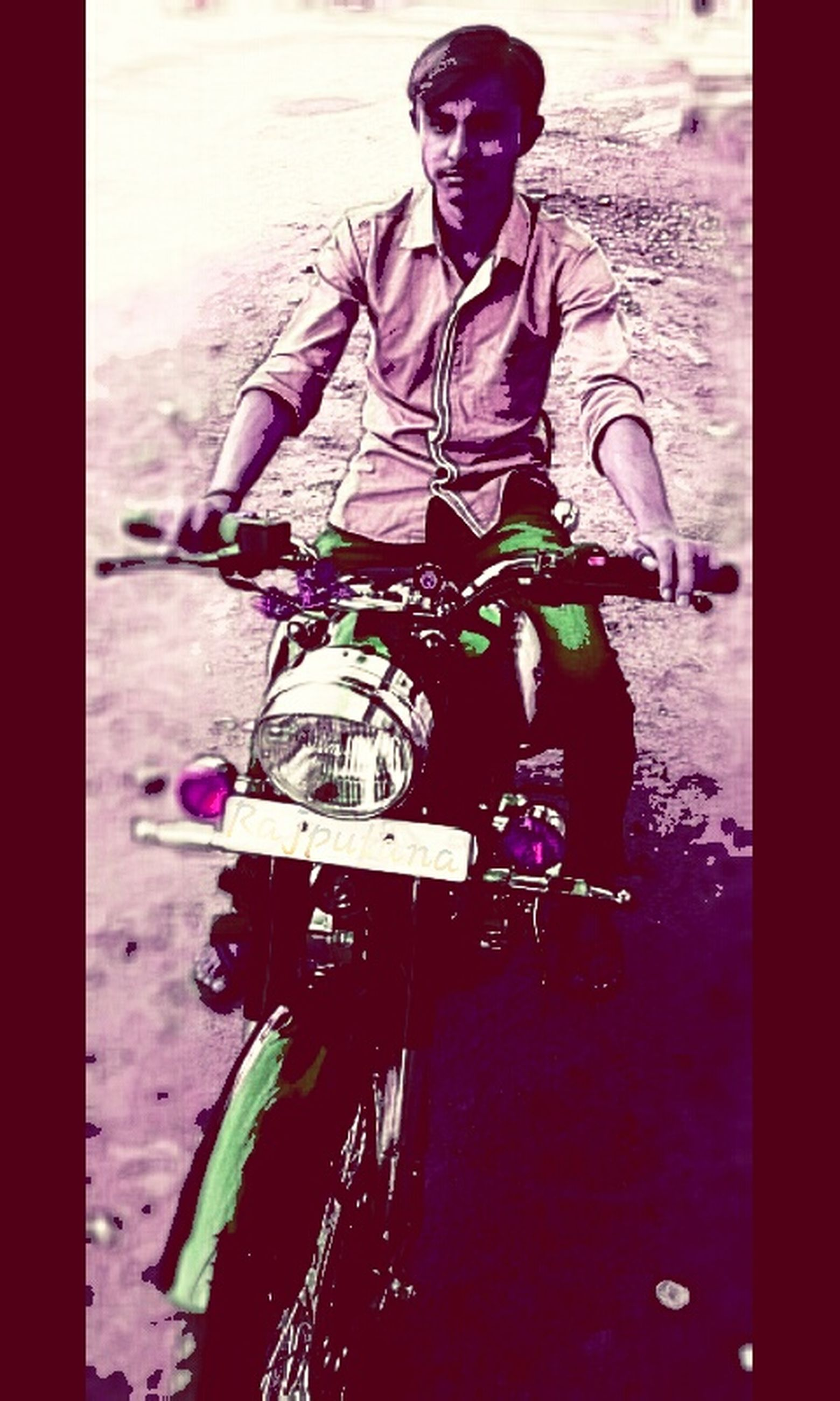 auto post production filter, transfer print, bicycle, lifestyles, leisure activity, shadow, standing, sunlight, day, outdoors, men, street, high angle view, childhood, human representation, casual clothing, wall - building feature, land vehicle
