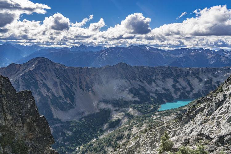 Alpine Beauty In Nature Day Emerald Expanse Jagged Lake Landscape Mountain Mountain Range Nature No People Outdoors Range Remote Ridge Ridgeline Rugged Scenery Scenics Sky Tranquil Scene Turquoise Vast Vista The Great Outdoors - 2017 EyeEm Awards