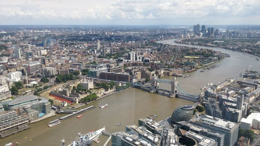 Aerial View Bend Capital Cities  City Cityscape Elevated View Horizon Over Land London London Bridge River S The Thames Travel Destinations Water