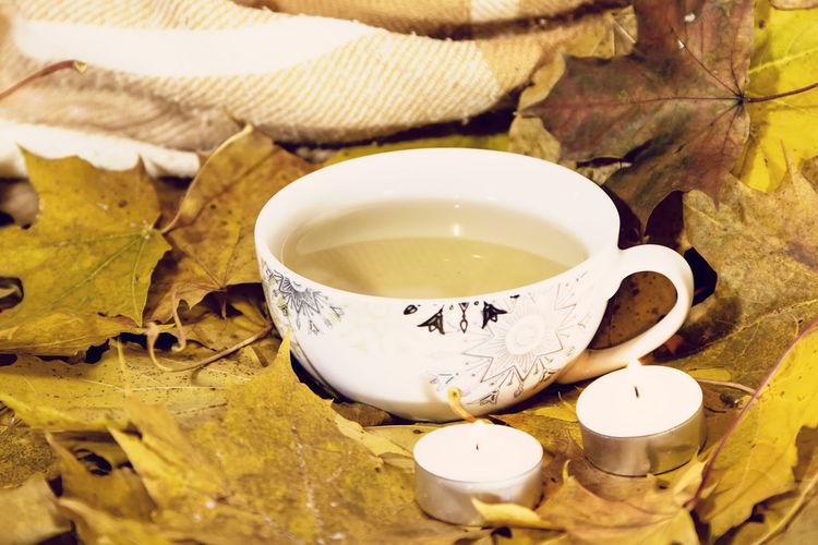 осень уют листья осенние листья тепло тепло свечи плед Autumn Autumn Leaves Candles Cosy Cozy Coziness Cosiness Comfort Warm Cool Plaid Wrap Cup Cup Of Tea чашка  чашка чая