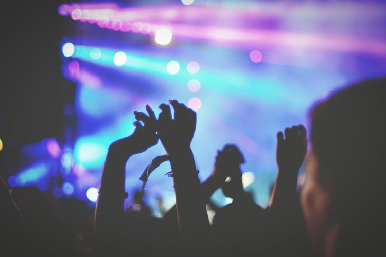 Crowd With Arms Raised In Music Concert