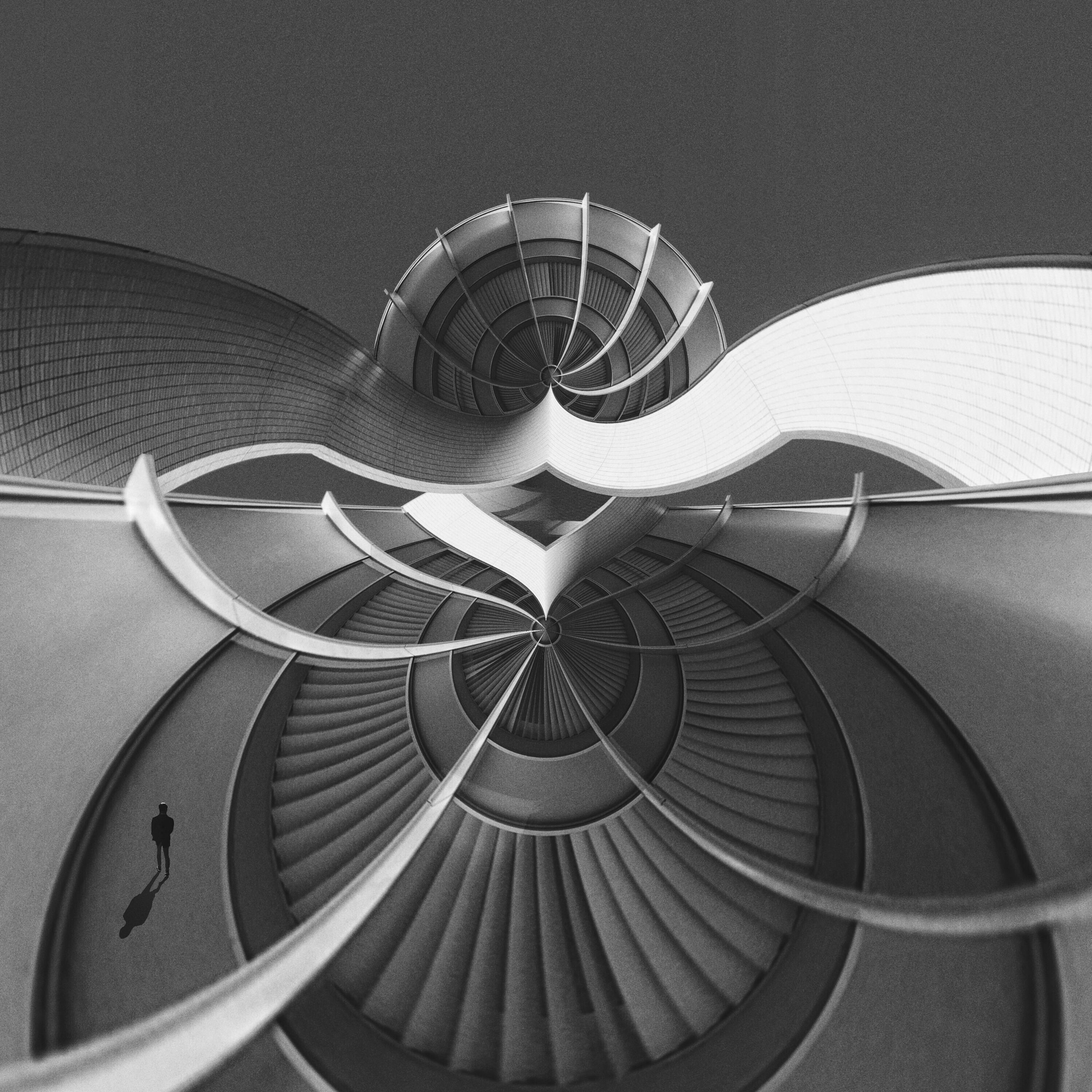 architecture, built structure, steps and staircases, steps, staircase, spiral, railing, building exterior, spiral staircase, pattern, indoors, low angle view, design, building, circle, modern, repetition, high angle view, metal, no people