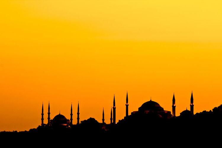 Silhouette Of Hagia Sophiaagainst Sky During Sunset