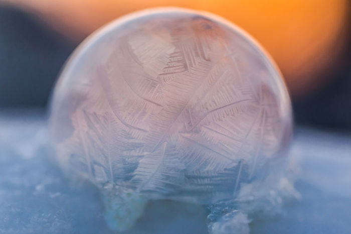 First attempt at frozen bubbles. #2018photochallenge Freezing Frozen Fun With Photography Macro Photography The Week On EyeEm Bubble Close-up Cold Cold Temperature Day Delicate Design First Attempt Frost Designs Frosty Frozen Bubble Indoors  Macro Nature No People Photography Challenge Photography Themes Snow Sunset Winter