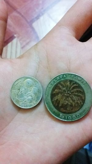 Money Coin Rupiah INDONESIA Old Money Human Hand Coin High Angle View Close-up