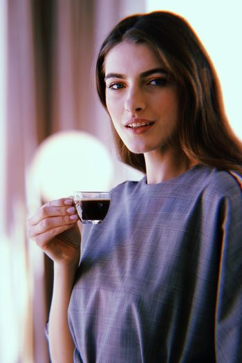 Huji Model Coffee One Person Young Adult Adult Holding Young Women Portrait The Portraitist - 2018 EyeEm Awards Happiness Beauty Smiling Lifestyles Indoors  Hairstyle Looking At Camera Beautiful Woman