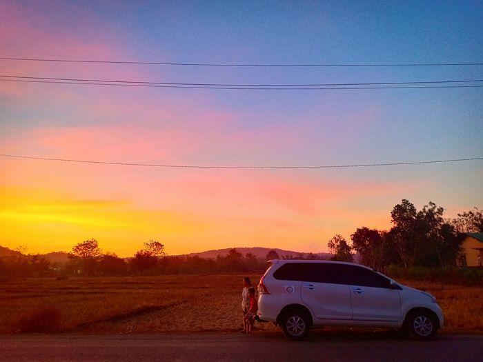sunset Atambua Nusa Tenggara Timur Belu Sunset Red Car Road Flying Sky