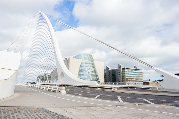 Samuel Beckett Bridge perspective in Dublin, Ireland Built Structure Architecture Building Exterior Modern City Sky Cloud - Sky Building Travel Destinations Skyscraper Travel Bridge Bridge - Man Made Structure Dublin Landmark Ireland Tourism Tourism Destination Travel River Liffey Liffeyriver Urban