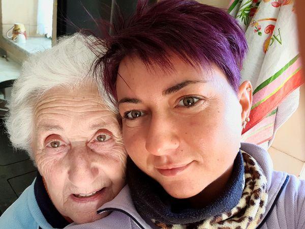 .con la mia nonna. Looking At Camera